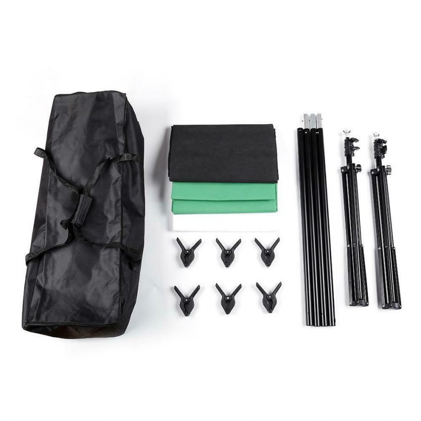 Photography 10ft Backdrop Stand Kit 1.6*3m Green Screen Black White with Clamps 2