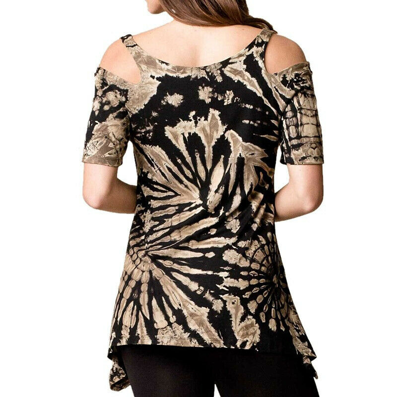 Ladies Tie Dye Cold Shoulder T-Shirt Tops Summer Holiday Casual Blouse Plus Size 5