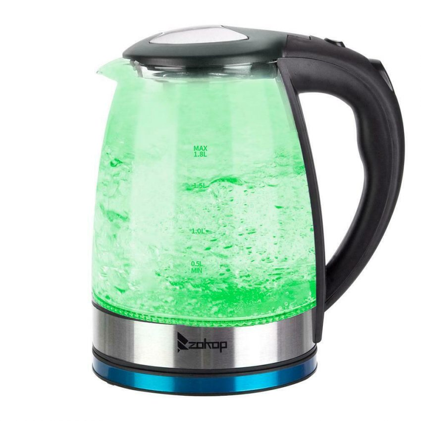 Electric Kettle Glass Water Boiler Fast Boiling Tea Kettle 1.8L Stainless LED 3