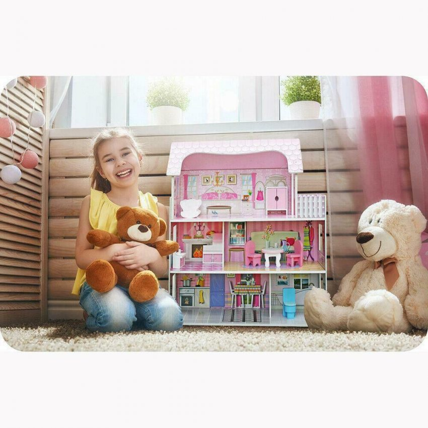 Girls Dream Wooden Pretend Play House Doll Dollhouse Mansion with Furniture 11