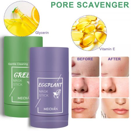 Green Tea Purifying Clay Stick Mask Anti-Acne Deep Cleansing Pore Acne Remover