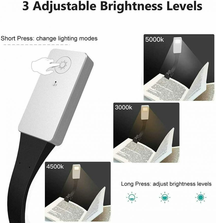 Book Light Clip-On Reading Light LED Rechargeable Portable Night Reading For Bed 1