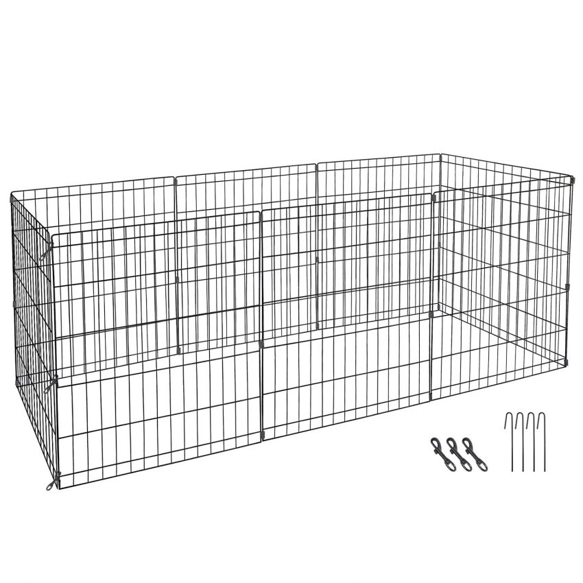 """24"""" Dog Playpen Crate 8 Panel Fence Pet Play Pen Exercise Puppy Kennel Cage Yard 3"""