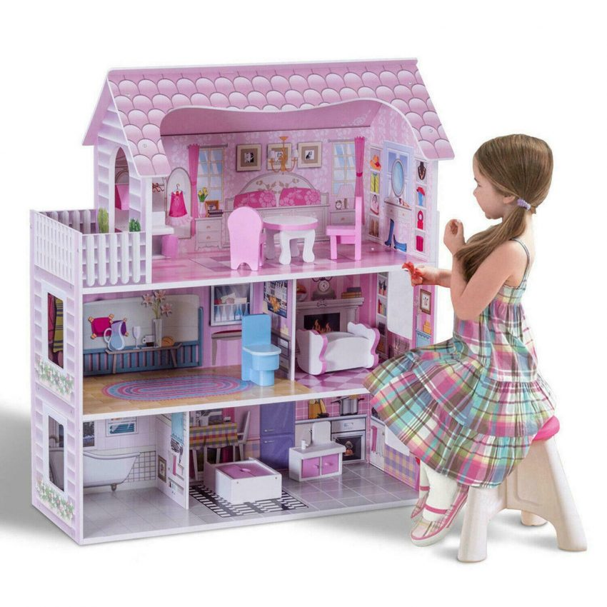 Girls Dream Wooden Pretend Play House Doll Dollhouse Mansion with Furniture