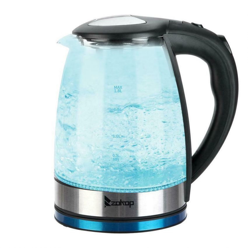 Electric Kettle Glass Water Boiler Fast Boiling Tea Kettle 1.8L Stainless LED 4
