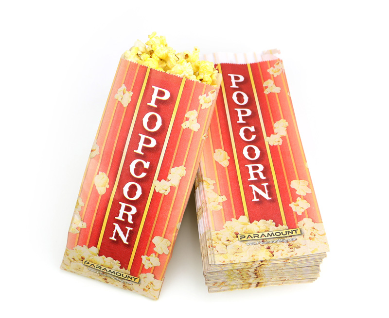 500 Popcorn Serving Bags, Pinch Bottom Paper Bag Style 1