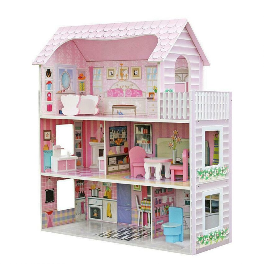 Girls Dream Wooden Pretend Play House Doll Dollhouse Mansion with Furniture 1
