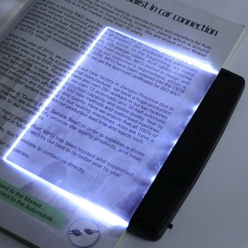 Creative New Flat Plate LED Book Light Reading Night Portable Home Bedroom US 4