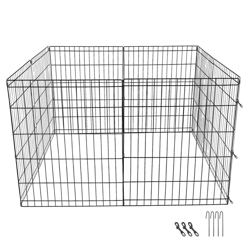 """24"""" Dog Playpen Crate 8 Panel Fence Pet Play Pen Exercise Puppy Kennel Cage Yard 6"""
