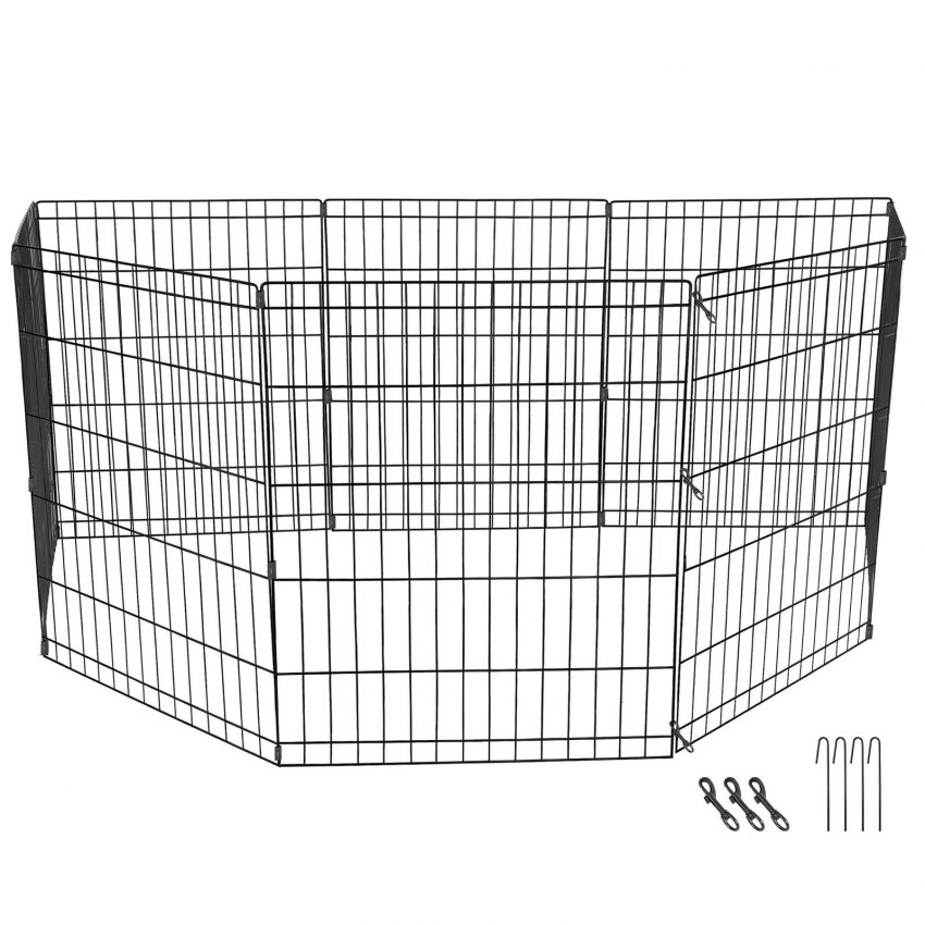 """24"""" Dog Playpen Crate 8 Panel Fence Pet Play Pen Exercise Puppy Kennel Cage Yard 7"""