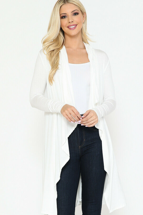 Women Draped Fly Away Lightweight Solid Hoodie open front long sleeves Cardigan 6