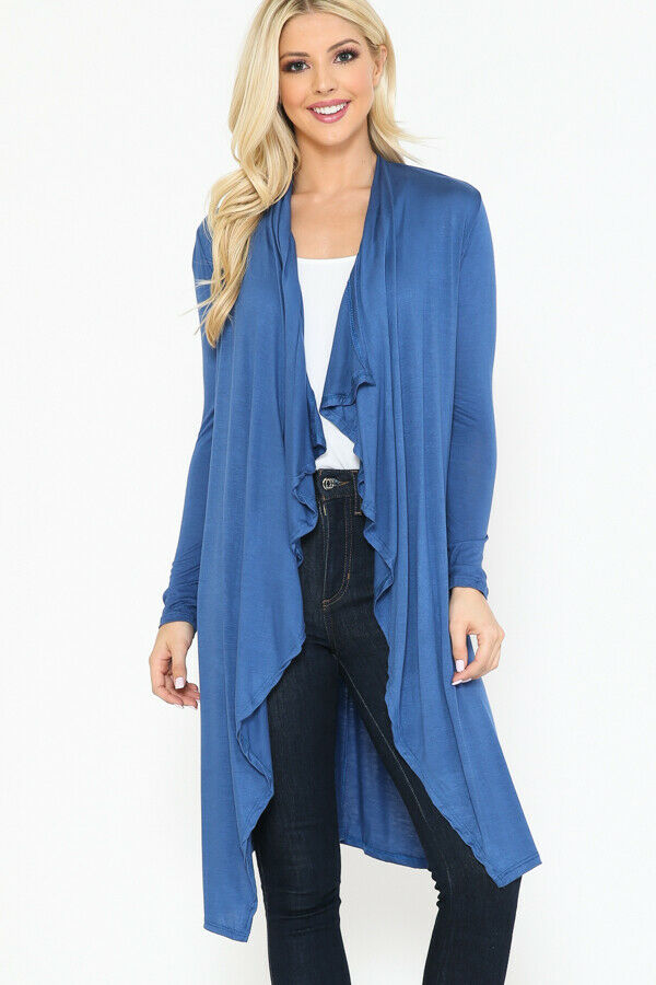 Women Draped Fly Away Lightweight Solid Hoodie open front long sleeves Cardigan 3