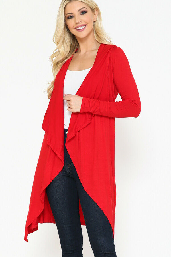 Women Draped Fly Away Lightweight Solid Hoodie open front long sleeves Cardigan 1