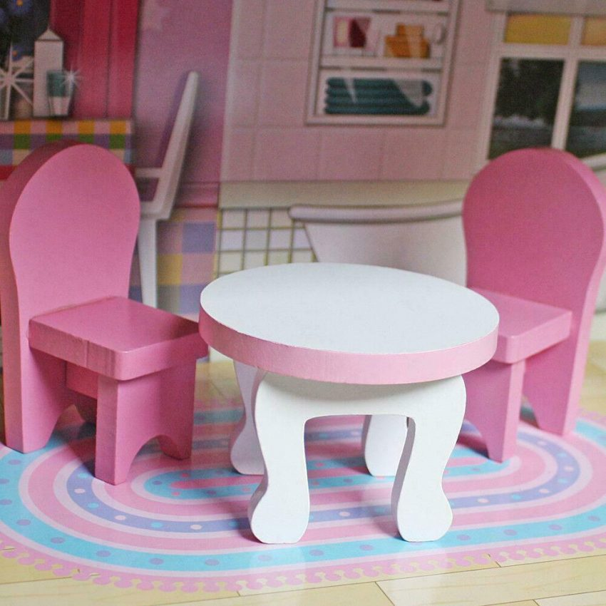 Girls Dream Wooden Pretend Play House Doll Dollhouse Mansion with Furniture 6