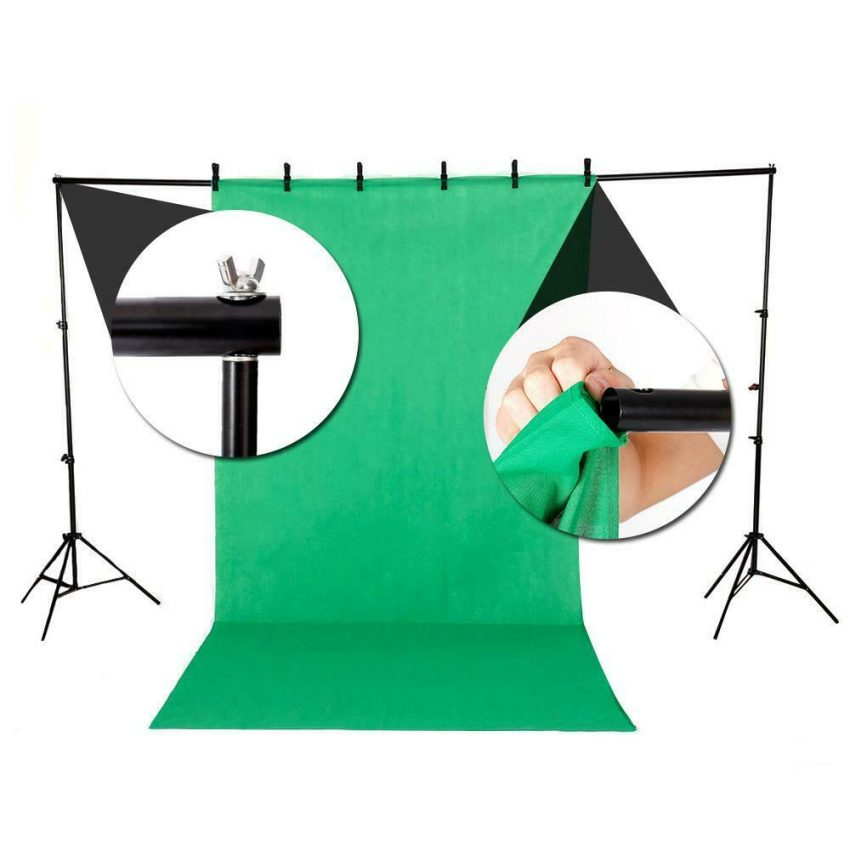 Photography 10ft Backdrop Stand Kit 1.6*3m Green Screen Black White with Clamps 1