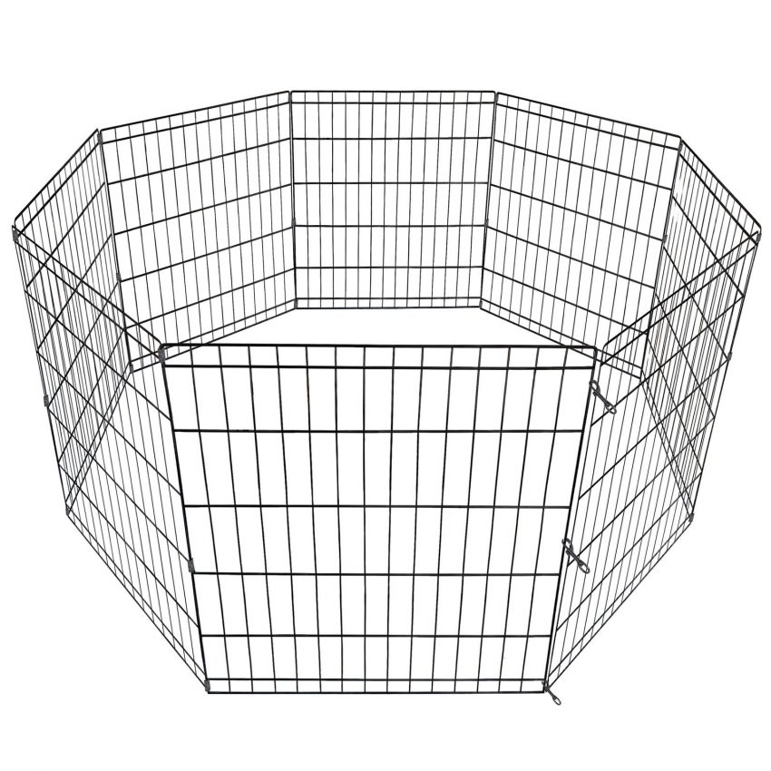 """24"""" Dog Playpen Crate 8 Panel Fence Pet Play Pen Exercise Puppy Kennel Cage Yard 8"""