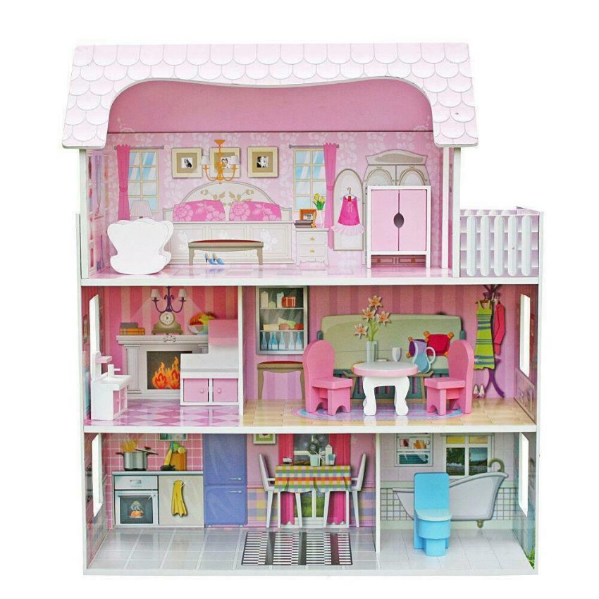 Girls Dream Wooden Pretend Play House Doll Dollhouse Mansion with Furniture 2