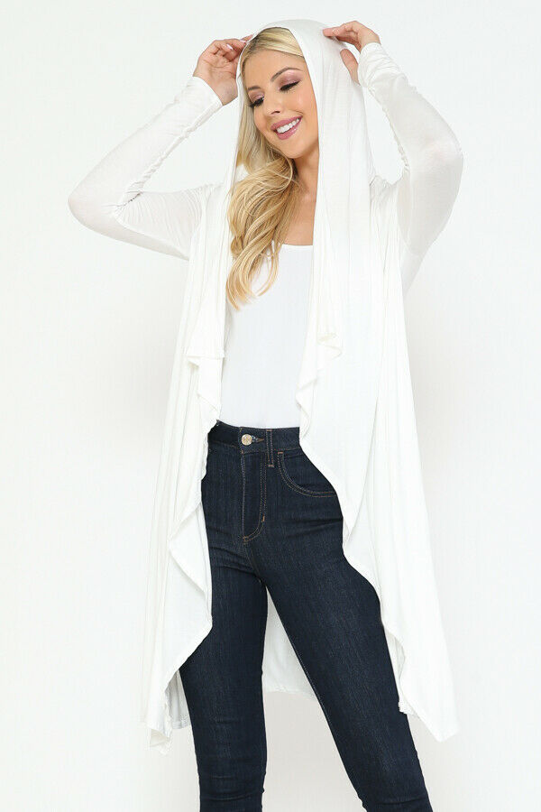 Women Draped Fly Away Lightweight Solid Hoodie open front long sleeves Cardigan 8
