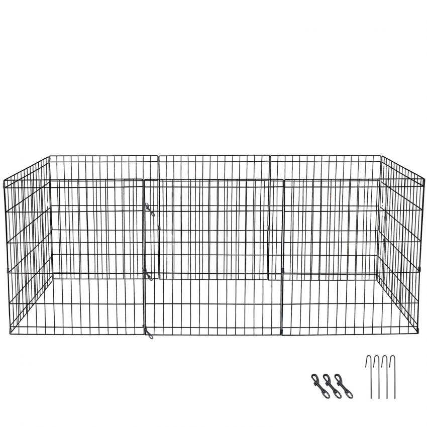 """24"""" Dog Playpen Crate 8 Panel Fence Pet Play Pen Exercise Puppy Kennel Cage Yard 2"""
