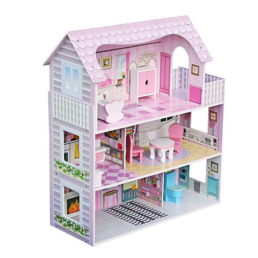 Girls Dream Wooden Pretend Play House Doll Dollhouse Mansion with Furniture 4
