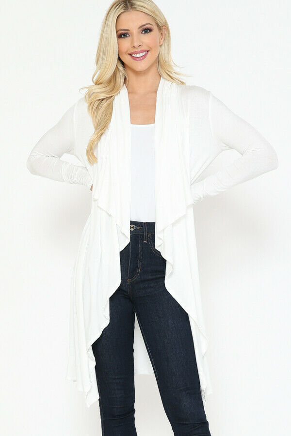 Women Draped Fly Away Lightweight Solid Hoodie open front long sleeves Cardigan 7