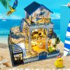 DIY Miniature Dollhouse Kit Mini Wooden House with Furniture LED Lights Kid Gift