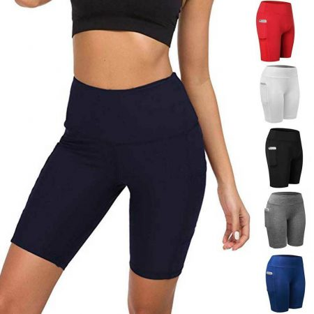 Womens Sport Shorts Yoga Exercise Fitness Pants With Pocket