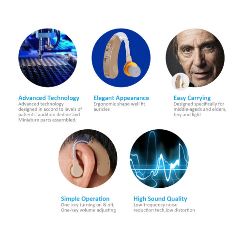 A Pair of Digital Hearing Aid Aids Kit Behind the Ear BTE Sound Voice Amplifier 3