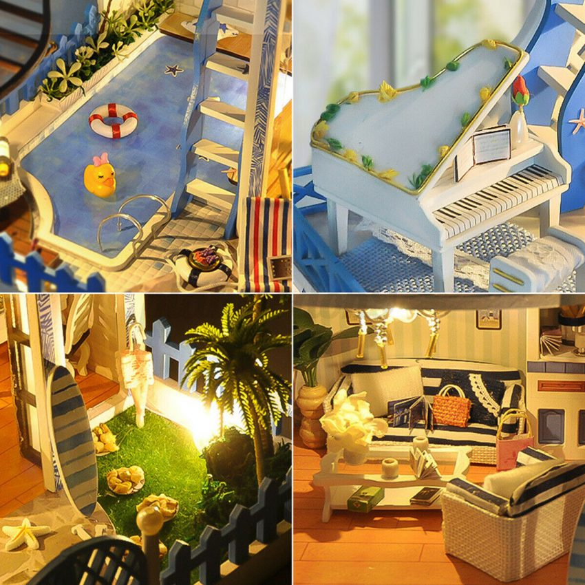 DIY Miniature Dollhouse Kit Mini Wooden House with Furniture LED Lights Kid Gift 4