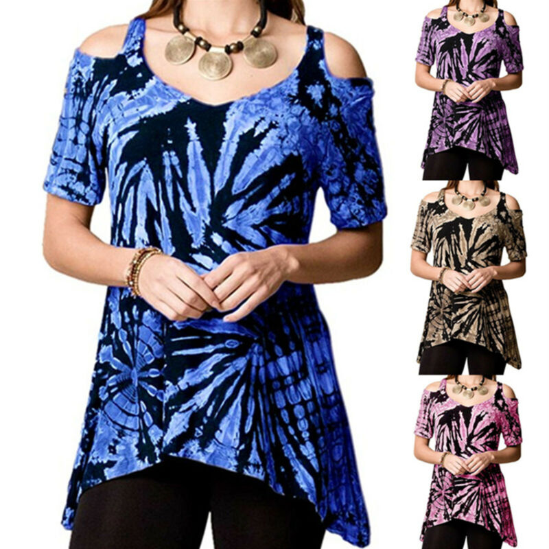Ladies Tie Dye Cold Shoulder T-Shirt Tops Summer Holiday Casual Blouse Plus Size