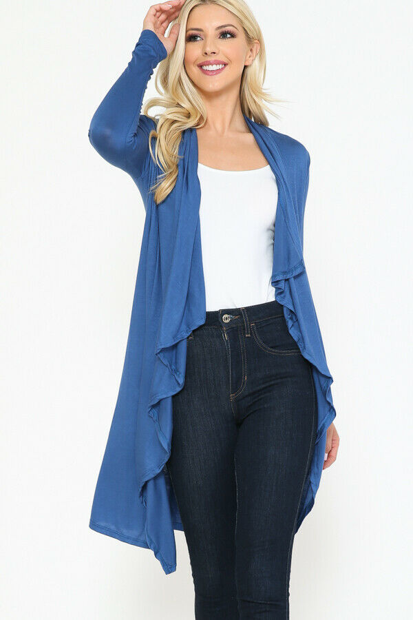 Women Draped Fly Away Lightweight Solid Hoodie open front long sleeves Cardigan 4