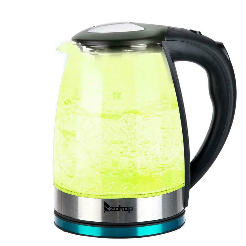 Electric Kettle Glass Water Boiler Fast Boiling Tea Kettle 1.8L Stainless LED 6