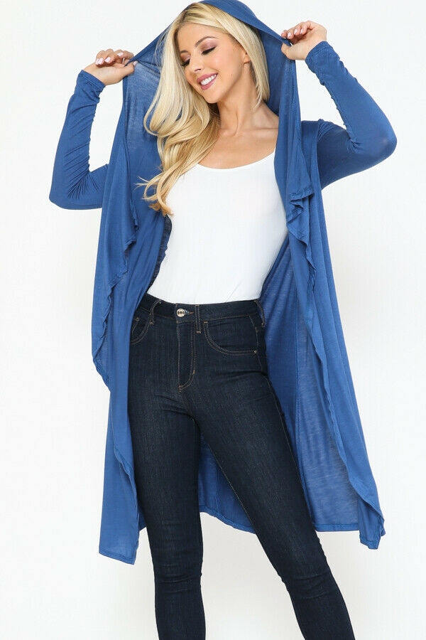 Women Draped Fly Away Lightweight Solid Hoodie open front long sleeves Cardigan 5