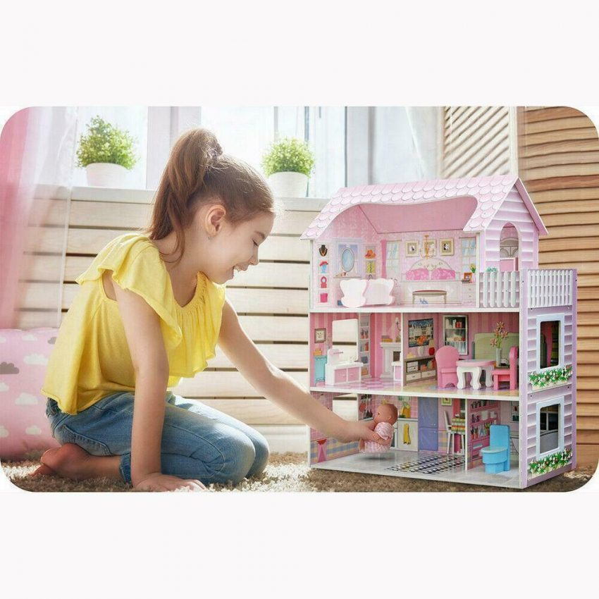 Girls Dream Wooden Pretend Play House Doll Dollhouse Mansion with Furniture 10
