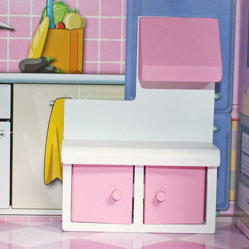 Girls Dream Wooden Pretend Play House Doll Dollhouse Mansion with Furniture 9
