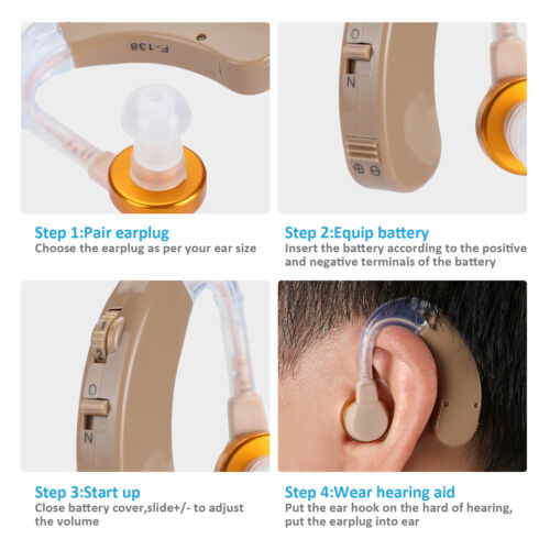 A Pair of Digital Hearing Aid Aids Kit Behind the Ear BTE Sound Voice Amplifier 2