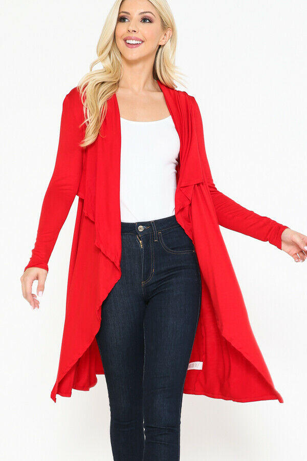 Women Draped Fly Away Lightweight Solid Hoodie open front long sleeves Cardigan