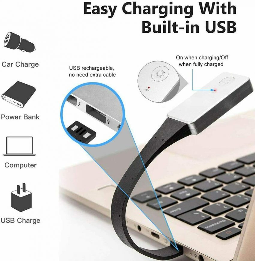 Book Light Clip-On Reading Light LED Rechargeable Portable Night Reading For Bed 3