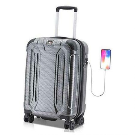 Hard Shell Luggage - Suitcase with USB Port - Tamper Proof Luggage With Black