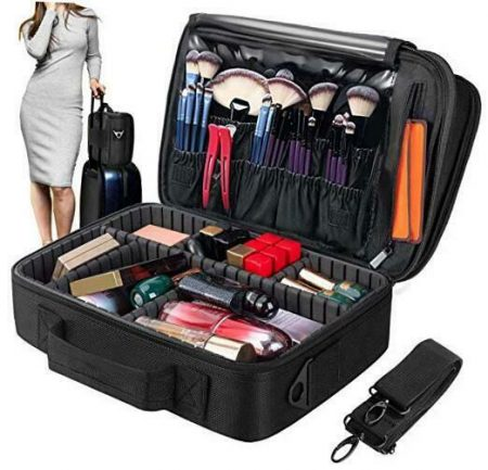 Makeup Train Case 5 Layer Waterproof Large Capacity Travel Cosmetic Small - Black
