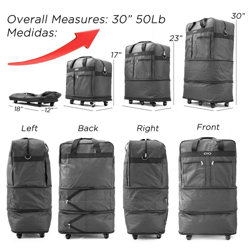 Expandable Rolling Duffel Luggage Travel Bag Wheeled Spinner Suitcase Luggage 2