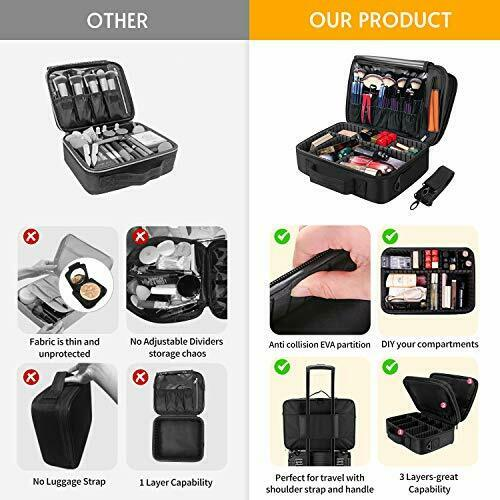 Makeup Train Case 5 Layer Waterproof Large Capacity Travel Cosmetic Small - Black 3