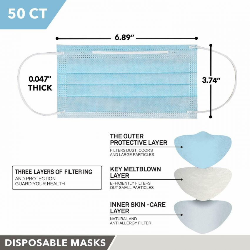 MADE IN USA 50 PCS Protective Face Mask Breathable Non-Woven Mouth Cover - Blue 2