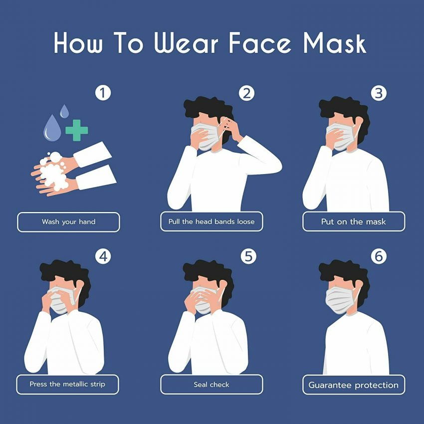 MADE IN USA 50 PCS Protective Face Mask Breathable Non-Woven Mouth Cover - Blue 6