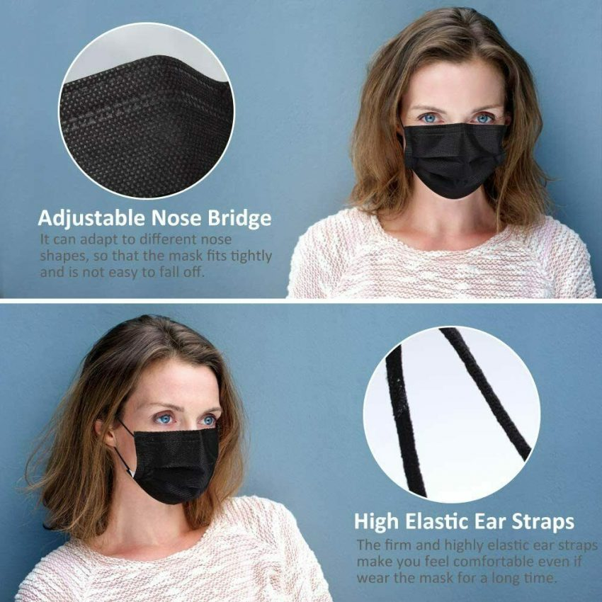 50 / 100 PCS Made in USA Black Face Mask Mouth & Nose Protector Respirator Masks 2