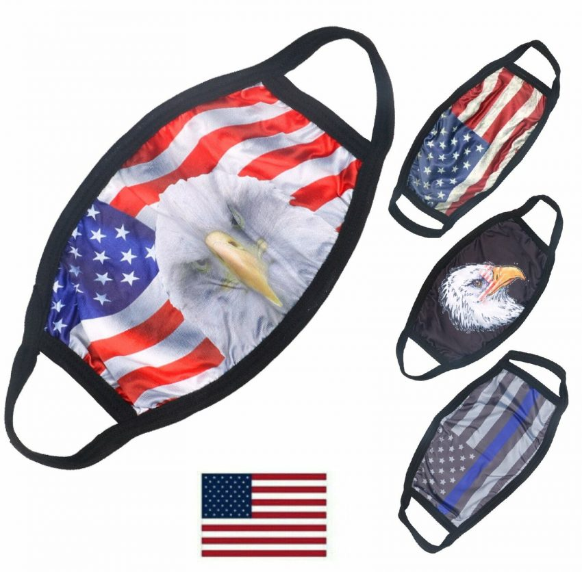 American Flag Bald Eagle Police Patriotic Reusable Protection Face Cover Mask