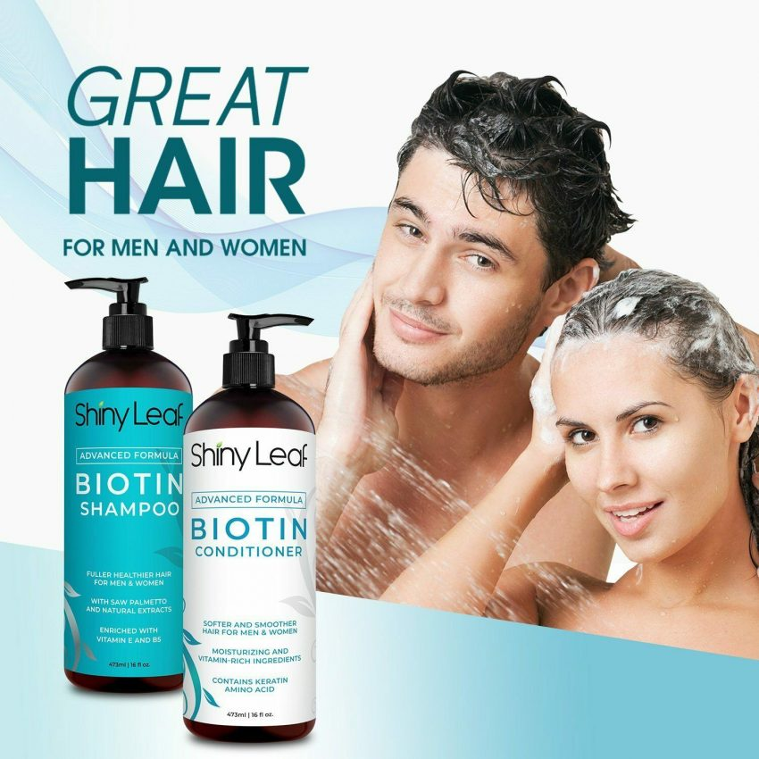 Biotin Hair Growth Shampoo and Conditioner Set Anti Hair Loss With DHT Blockers 1