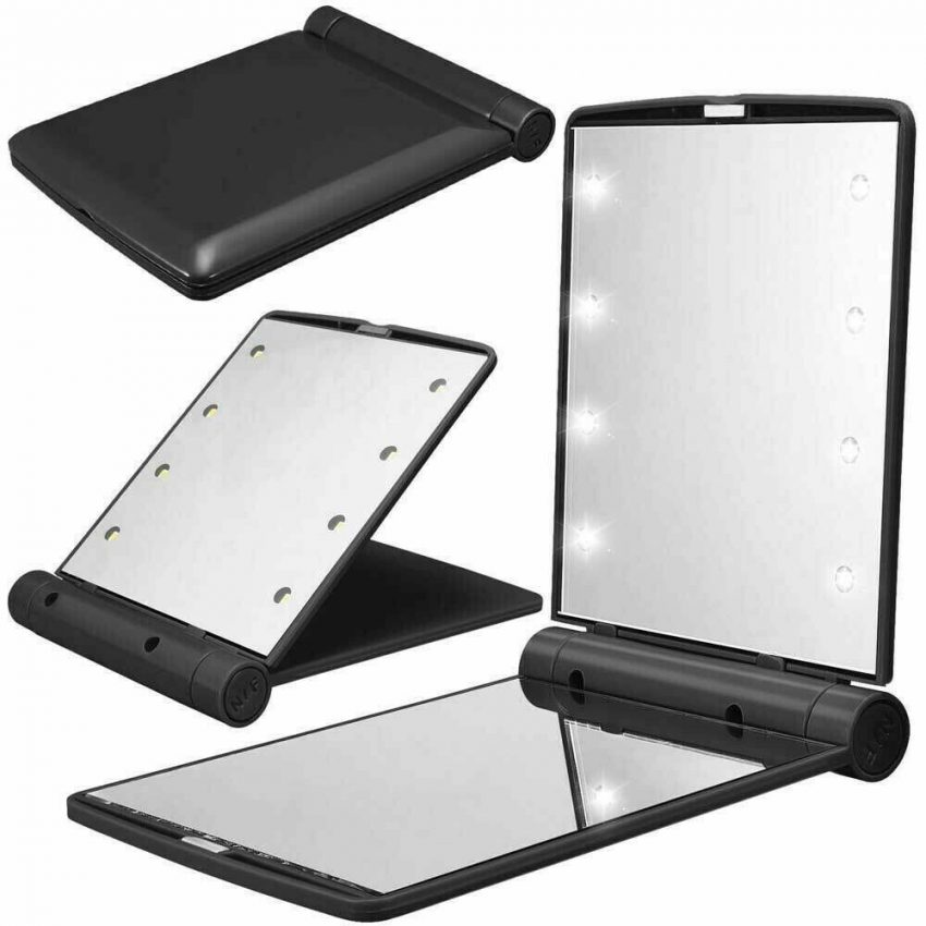 Makeup Mirror Compact Cosmetic Folding Portable Pocket with 8 LED Lights Lamps 3