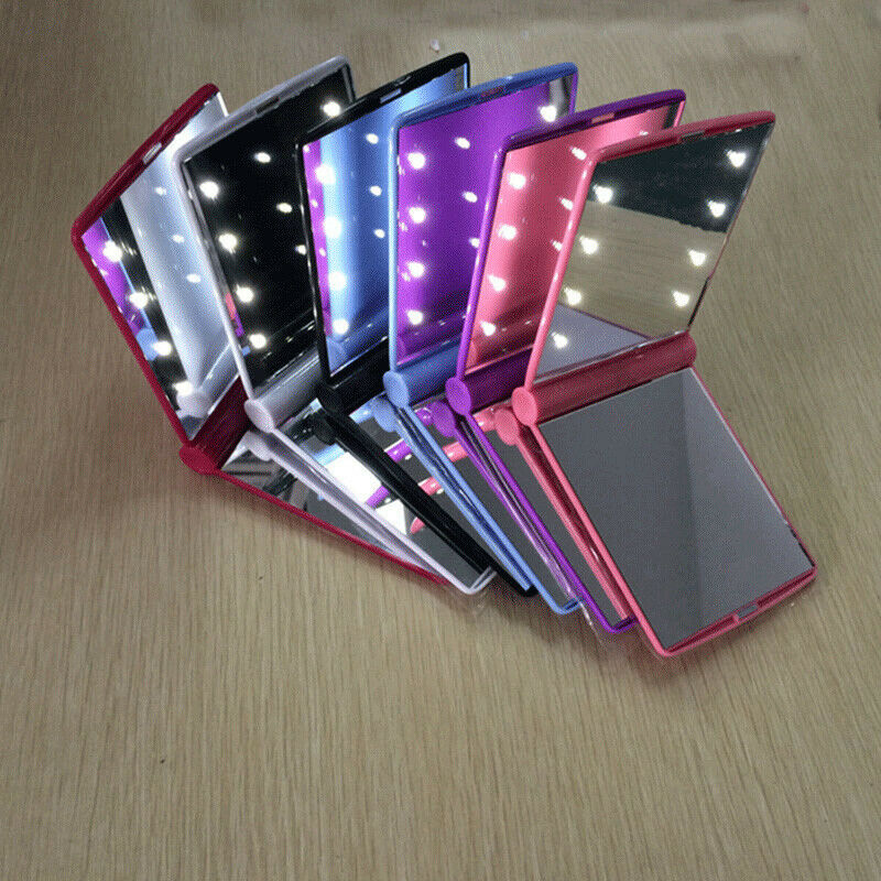 Makeup Mirror Compact Cosmetic Folding Portable Pocket with 8 LED Lights Lamps 2