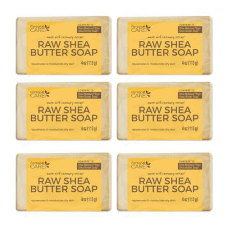 Personal Care Raw Shea Butter Soap. Moisturizes your Skin. 4 Oz. Pack of 6